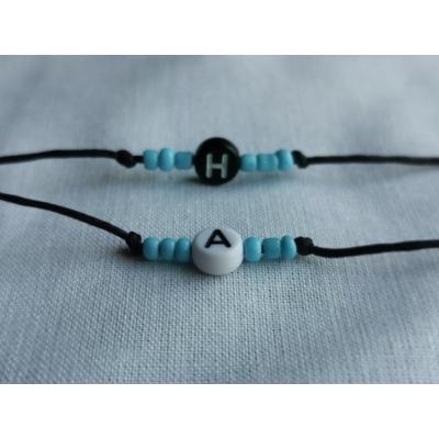 Armbandje met letter,hartje of naam Licht blauw
