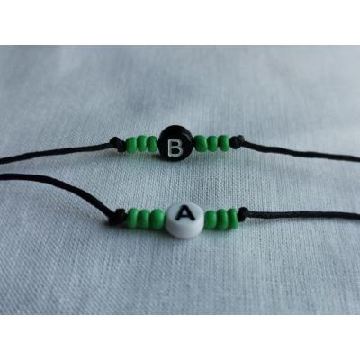 Armbandje met letter,hartje of naam Groen