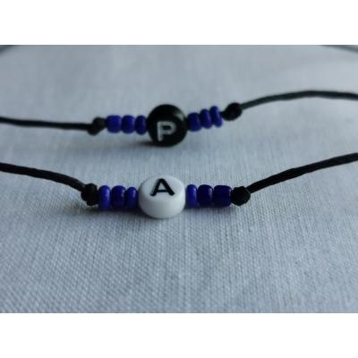 Armbandje met letter,hartje of naam Donker blauw